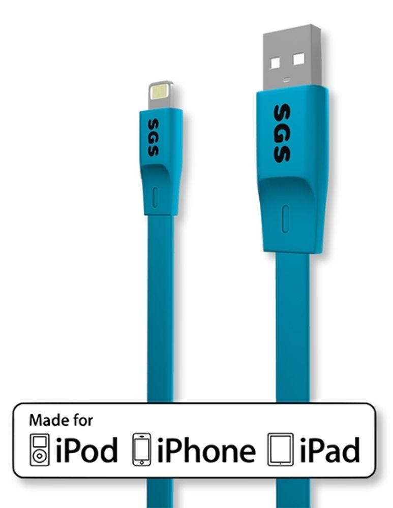 Immagine di CAVO USB LIGHTNING FLAT 1M SGS MFI AZZURRO