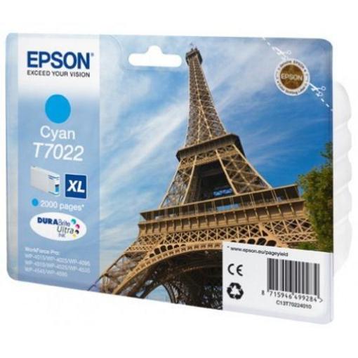 Image de CARTUCCIA EPSON T7022 CIANO XL WP-4012/4025/4095/4515/4525/45