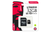 Image de MEMORY CARD KINGSTON 32GB CL10 C/ADATT.  SD-MICRO SD